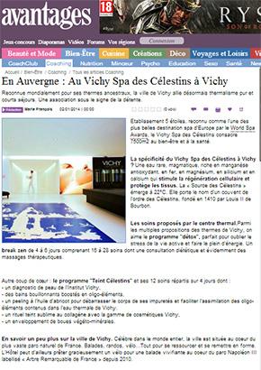 Avantages janvier 2014 : En Auvergne, au Vichy Spa des Célestins à Vichy.