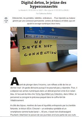 La Digital Detox ou le sevrage numérique au Vichy Spa Hôtel Les Célestins !