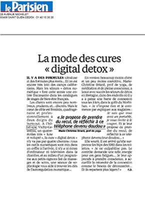 """Le Parisien : la mode des cures """"digital detox"""""""