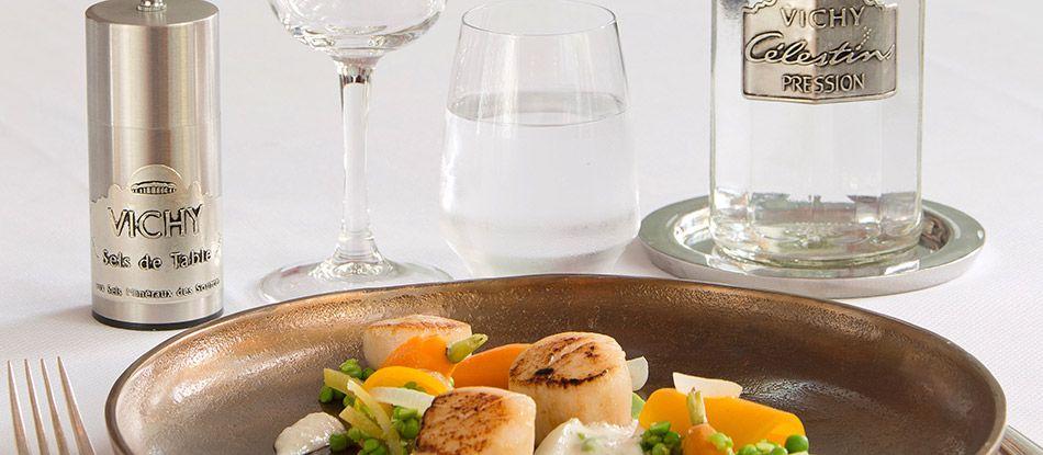 Plat cuisine santé à l'eau Vichy Célestins : noix de saint jacques