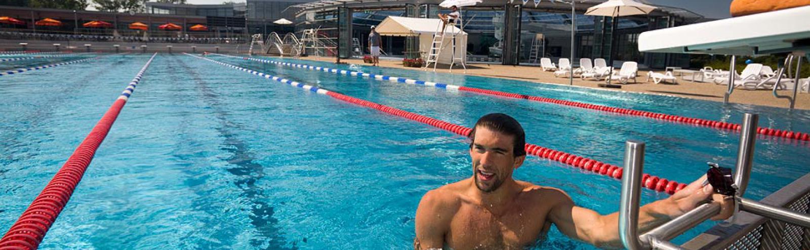 Michael Phelps - Entrainement sportif à Vichy avant les JO de Londres 2012