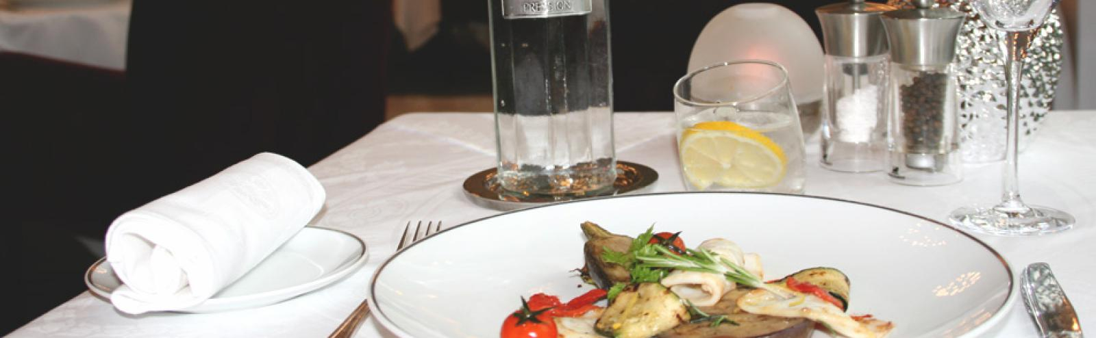 Recette aubergine grillée aux encornets - Restaurant Saveurs, Plaisir et Santé