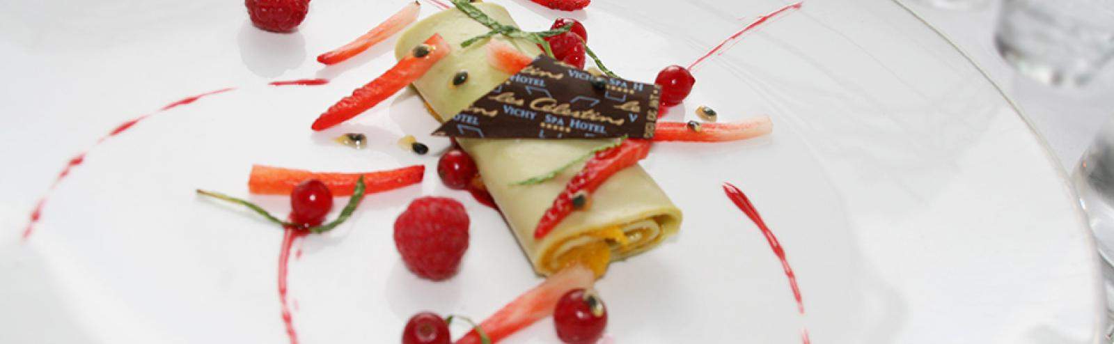 Recette Chef cuisinier Hôtel Les Célestins 5* : roulé  de mangue au thé matcha